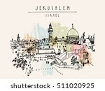 jerusalem  israel. city skyline.... | Shutterstock .eps vector #511020925