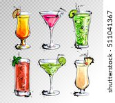 Stock vector hand drawn illustration of set of cocktails 511041367