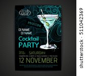 disco cocktail party poster | Shutterstock .eps vector #511042369