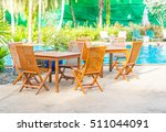 outdoor patio with empty chair... | Shutterstock . vector #511044091