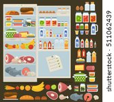 opened refrigerator and set of... | Shutterstock .eps vector #511062439