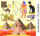set of egypt symbols and... | Shutterstock .eps vector #511063864