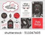merry christmas invitation set. ... | Shutterstock .eps vector #511067605