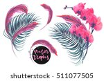 tropical flowers  palm leaves ... | Shutterstock .eps vector #511077505