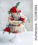 wedding cake with flowers  figs ... | Shutterstock . vector #511081861