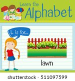 flashcard letter l is for lawn... | Shutterstock .eps vector #511097599