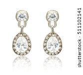 pair of silver diamond earrings ...   Shutterstock . vector #511102141