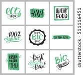 healthy food sticker set with... | Shutterstock . vector #511116451