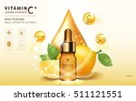 lemon essence ads  glass bottle ... | Shutterstock .eps vector #511121551