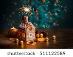 gingerbread house with lights... | Shutterstock . vector #511122589