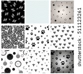 Stock vector set of mixed seamless patterns dog paw print seamless stars seamless pattern black halloween 511123261