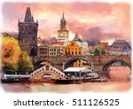 watercolor illustration of old... | Shutterstock . vector #511126525