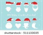 santa hats  moustache and... | Shutterstock .eps vector #511133035