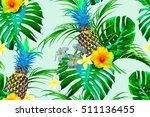 pineapples  tropical flowers ... | Shutterstock .eps vector #511136455