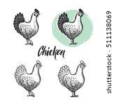 chicken logotypes set. hen meat ... | Shutterstock . vector #511138069