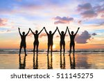 silhouette of a group of people ... | Shutterstock . vector #511145275