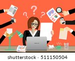 business woman surrounded by... | Shutterstock .eps vector #511150504
