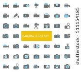 blue and gray camera icon set....