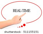 Small photo of Hand writing REAL-TIME with the abstract background. The word REAL-TIME represent the meaning of word as concept in stock photo.