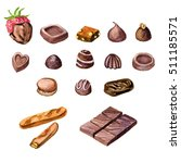 watercolor chocolate candies... | Shutterstock . vector #511185571