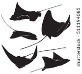 set of stingray silhouette and... | Shutterstock .eps vector #511194085
