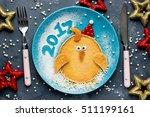 happy new year 2017 breakfast... | Shutterstock . vector #511199161