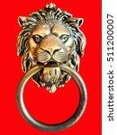 Bronze Lion Door Knocker On Re...
