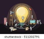 sketch of lamp idea with crowd... | Shutterstock .eps vector #511202791