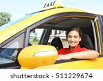 beautiful female taxi driver... | Shutterstock . vector #511229674