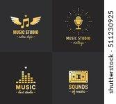 music studio and radio gold...   Shutterstock .eps vector #511230925