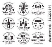 wine shop set of vector black...   Shutterstock .eps vector #511231894