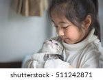 Stock photo happy little asian girl hugging lovely scottish fold kitten 511242871