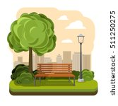 Park with bench and streetlight vector. Illustration of green tree | Shutterstock vector #511250275