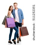 happy couple with shopping bags ... | Shutterstock . vector #511252351