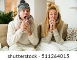 sick couple catch cold. man and ... | Shutterstock . vector #511264015