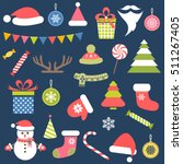 set of christmas stickers   Shutterstock .eps vector #511267405