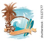 vintage surfing emblem   Shutterstock . vector #51127177