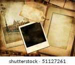old photoalbum - vintage series with istant frame - stock photo