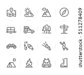 camping icons with white...