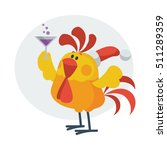rooster bird drinks champagne.... | Shutterstock .eps vector #511289359