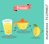 funny lemon with juicer and... | Shutterstock .eps vector #511290817