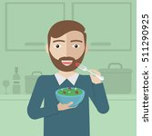 smiling man eating salad in... | Shutterstock .eps vector #511290925