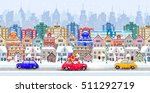 christmas santa claus driving... | Shutterstock .eps vector #511292719