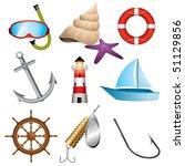 set of 9 sea related vector... | Shutterstock .eps vector #51129856