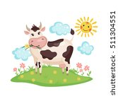Cute Cow On A Meadow With...