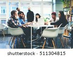 group of colleagues having... | Shutterstock . vector #511304815