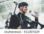 happy smiling cyclist man...