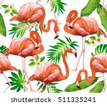 Flamingo Bird And Tropical...