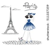 girl walking with french... | Shutterstock .eps vector #511337359