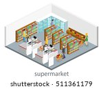 isometric interior of grocery... | Shutterstock .eps vector #511361179